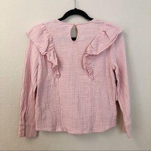 Lucky Brand Tops - Lucky Brand | Blush Pink Ruffle Trim Blouse XS